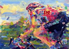 """acrylic on paper 8x12""""      Ryder Hesjedal took on the whole of Italia and some of Spain  on his own....to win the 2012 Giro,  magic!!"""