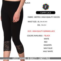 Leggings & Tights  Fabulous Women's Legging Fabric: Vertex Waist Size: XL- 26 in To 30 in  XXL - 32 in To 34 in Length: Up To 34 in Type: Stitched Description: It Has 1 Piece Of Women's Trouser  Work:  Capri Lace Work Country of Origin: India Sizes Available: XL, XXL *Proof of Safe Delivery! Click to know on Safety Standards of Delivery Partners- https://ltl.sh/y_nZrAV3  Catalog Rating: ★4.2 (4835)  Catalog Name: Alexandra Fabulous Vertex Womens Leggings Vol 1 CatalogID_121886 C79-SC1035 Code: 012-1012539-