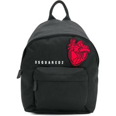 Dsquared2 Heart patch backpack ($380) ❤ liked on Polyvore featuring bags, backpacks, black, heart shaped bag, patch backpack, knapsack bag, backpack bags and zip top bag