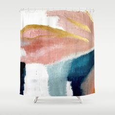 Buy Exhale: a pretty, minimal, acrylic piece in pinks, blues, and gold Shower Curtain by blushingbrushstudio. Worldwide shipping available at Society6.com. Just one of millions of high quality products available.