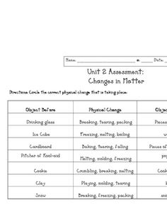This is a simple worksheet on physical and chemical changes in ...
