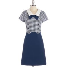 Myrtlewood Nautical Mid-length Short Sleeves Shift Yesteryear's Finest... ($27) ❤ liked on Polyvore featuring dresses, apparel, blue, fashion dress, retro dresses, a line dress, embellished dresses, blue short sleeve dress and short sleeve dress