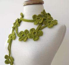 Green Bloom ScarfReady For ShippingFall Fashion by knittingshop, $25.00