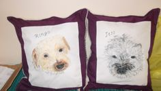Commissioned items, hand painted with fabric paints and turned into cushions