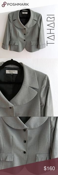 🆕TAHARI black white button front blazer NWOT TAHARI Arthur S. Levine black and white printed blazer jacket with button closure and collar neckline. Shoulder pads inside and fully lined. Two frontal pockets. Gorgeous and rare vintage TAHARI ! Tahari Jackets & Coats Blazers