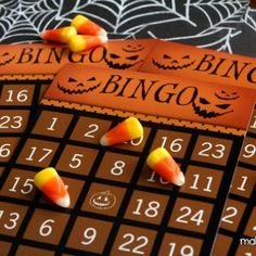 Halloween Bingo idea Would just do BINGO title with no graphics, then it could be used at Thanksgiving, too.
