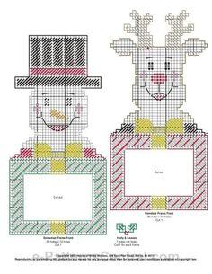 Plastic Canvas Ornaments, Plastic Canvas Crafts, Plastic Canvas Patterns, Picture Frame Ornaments, Photo Ornaments, Canvas Picture Frames, Canvas Pictures, Christmas Picture Frames, Plastic Canvas Christmas
