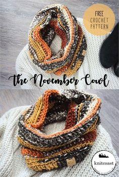 Crochet Shawl A Free Crochet Pattern by Knitcoast The November Cowl Crochet Gifts, Knit Or Crochet, Crochet Shawl, Easy Crochet, Crochet Hooks, Crotchet, Diy Crochet Scarf, Autumn Crochet, Crochet Motifs