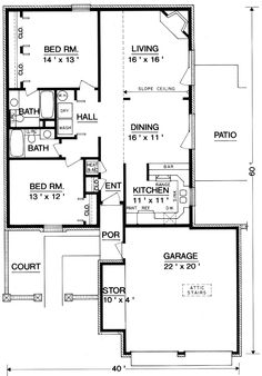 l shaped 1200 square foot 2 bedroom plans   Cozy Brick Home