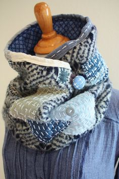 Wool Scarf Boro Men's Neck warmer Dark blue and gray warm winter neck wrap cowl Kantha Upcycled Sashiko felted wool scarf SaidoniaEco Boro Stitching, Hand Stitching, Diy Vetement, Fibre Textile, Japanese Textiles, Neck Wrap, Wool Scarf, Neck Warmer, Sewing Clothes
