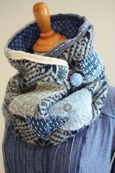 Wool Scarf Boro Men's Neck warmer Dark blue and by SaidoniaEco