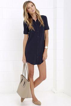 Oxford Comma Navy Blue Shirt Dress at Lulus.com!
