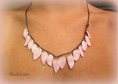 -Madeleine- / pink Necklace Pink Necklace, Crochet Necklace, Necklaces, Diamond, Handmade, Jewelry, Fashion, Madeleine, Fimo
