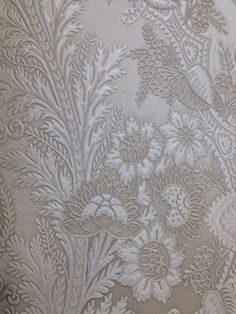 "Beautiful deeply textured lace wallpaper from ""Venezia"" by Brewster. Find it at http://lelandswallpaper.com"