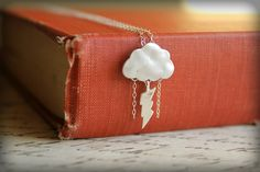 Stormy Day Necklace, Sterling Silver Chain - Storm Cloud Lightning & Rain. $25.00, via Etsy.