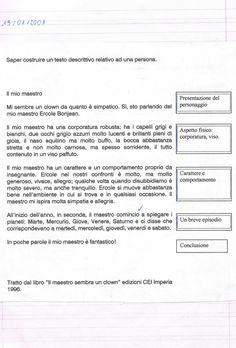 Saper costruire un testo descrittivo relativo ad una persona - Schema di lavoro Tema Il mio maestro Presentazione del p...
