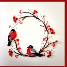 Pair of Birds, Quilling Card, Birthday, Greeting Approx.