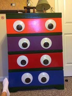 Super cute ninja turtle TMNT dresser for my little boys room with glow in the dark eyes