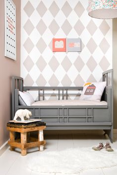Greige Toddler Room {with painted diamond wall}