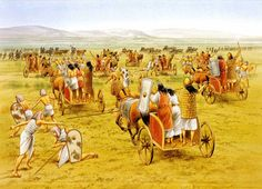 Hittite and Egyptian chariots clash at the Battle of Qadesh, 1274 B. - art by Brian Delf Ancient Greece, Ancient Egypt, Ancient History, Battle Of Kadesh, Aliens, Ancient Near East, Historical Pictures, Bronze Age, Military History
