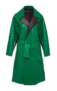Green And Navy Blue Leather Coat by Bally for Preorder on Moda Operandi