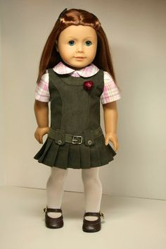 American Girl Doll Clothes-Jumper, Blouse and Tights. $28.00, via Etsy.