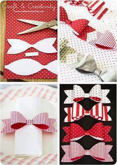 DIY Paper bows - by Craft & CreativityIdea for leather, felt, or vinyl bowPappersrosetter / Papierbögen - von Craft & Creativity Source byPappersrosetter hos Make & Create Hair Ribbons, Diy Hair Bows, Diy Bow, Diy Ribbon, Ribbon Bows, Diy And Crafts, Paper Crafts, Diy Papier, Bow Tutorial