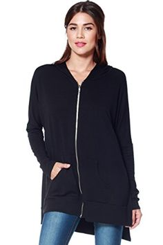 A D® Womens Oversized Knit Zipper Hoodie W/ High Side Slits ** Click on the affiliate link Amazon.com on image for additional details.