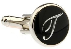 "Silver Round Black Enamel Script Letters T Cufflinks Cuff Links Silver Smith Cufflinks. $38.88. Comes packaged in a Limited Edition Collectors Storage Box!. Free Gift Wrapping with each order!. Approximately 3/4"" x 1/2"""