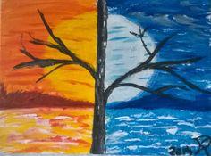 Nappal és éjjel akril vászon