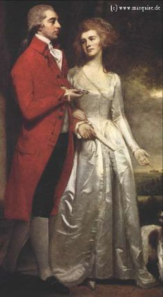 Sir Christopher Sykes and His Wife by George Romney, 1786. She looks so elegant, just look at her facial structure... Burning with jealousy, ah.