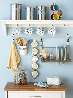We have some of Ikea's rails & hooks in our kitchen. Wish we had more wall space to do this kind of storage.