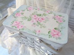 OH MY BEAUTIFUL BASKET! hp roses chic shabby vintage cottage hand painted pink  #Unbranded #COTTAGECHIC