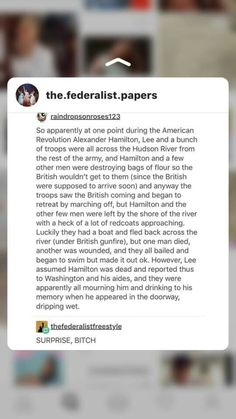 He's a goddamn islander kid! He didn't survive a hurricane to just up and die on some stupid shit like this happening in the Hudson!   God I love Hamilton.