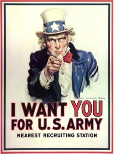 """""""I want You for U. army """" is one of the famous propaganda poster. Uncle Sam who is the man on the poster, is a well-known symbol to this day. This poster means that the United States was counting on each and every one of them. I Want You Poster, Oncle Sam, Posters Vintage, Propaganda Art, Rosie The Riveter, Texas Rangers, Library Of Congress, Us Army, World War Ii"""