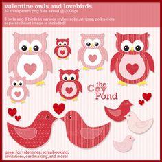 Valentine Clip Art Birds and Owls  valentine by TheCoyPond on Etsy