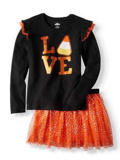 Buy Halloween Ruffle Long Sleeve T-Shirt & Foil Mesh Skirt, 2-Piece Outfit Set (Little Girls & Big Girls) at Walmart.com Halloween Clothes, Halloween Outfits, Mesh Skirt, Halloween 2020, 2 Piece Outfits, Ruffles, Little Girls, Walmart, Graphics