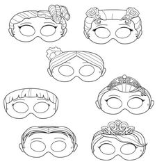 Princesses Printable Coloring Masks, princess masks, prince, princess party, princess costume, paper mask, princess, girls mask, tiara