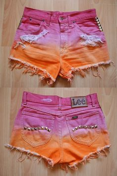 DIY shorts. Cuuute! But want to try bleach instead of color dye