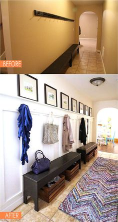 home decor hallway Take apart circular tshirt rug and crochet adding black to the fray with a thin black border - perfect entryway runner Tiled Hallway, Hallway Bench, Entryway Storage, Entry Hallway, Entryway Furniture, Entryway Decor, Entryway Ideas, Hallway Ideas, Corridor Ideas