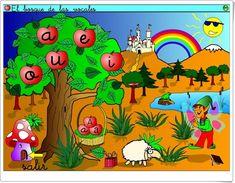 """""""El Bosque de las Vocales"""" (Aplicación Interactiva de Lectoescritura) Leo, Interactive Activities, Educational Crafts, Speech And Language, Woods, Tools, Reading, Lion"""