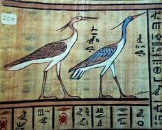 Les hérons. Peinture acrylique sur véritable papyrus, Christine Monsion