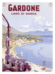 Vintage Travel Poster - Italy - Gardone, Lake Garda