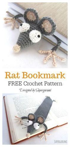 #freecrochetpattern  #crochetbookmark  #CrochetAmigurumi #Free #Crochet  Rat Bookmark Free Crochet Pattern. 20+ Crochet Bookmark Patterns for Every Skill Level