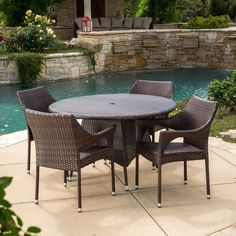 Best Selling Home Decor Furniture Celia Wicker 5 Piece Round Patio Dining Set