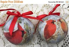 ON SALE Cardinal Christmas Tree Ornaments Set of 2 Frosted Balls Male Female Cardinals Red Satin Ribbons Bows Estate Items