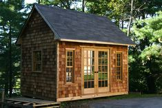 Cedar shingle siding can turn an ordinary shed into a thing of beauty! Cedar Shingle Siding, Cedar Shingles, Garden Shed Kits, Shed Decor, Cheap Sheds, Large Sheds, Free Shed Plans, Shed Building Plans, Building Ideas