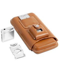 Enjoy every puff in style with this sleek leather cigar holder set from Bey-Berk. | Leather/stainless steel | Wipe clean | Imported | Bey-Berk men's three cigar holder set | Genuine leather case | Sta
