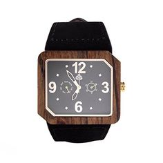 Leafwood, The Terra Juglan GOLD, Natural Recycled Walnut Mens Wood Watch with Italian Leather Strap