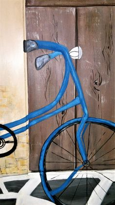 wooden door with painting,different effect, wood, worn wall, pavement Bicycle Painting, Pavement, Wooden Doors, Wall, Artwork, Work Of Art, Auguste Rodin Artwork, Walls, Artworks